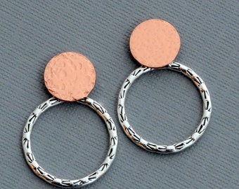 Front back sterling silver hoop ear jackets double sided earrings copper disc dot post stud modern minimalist mix and match tribal jewelry