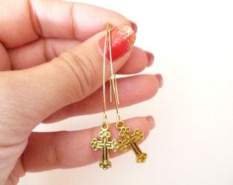 Gold Holy Cross Earrings