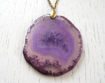 Purple Crystal Agate Slice Pendant Necklace