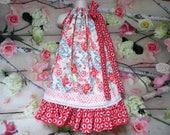 Girls Dress 5/6 Coral Aqua Cream Flower Boutique Pillowcase Dress, Sundress