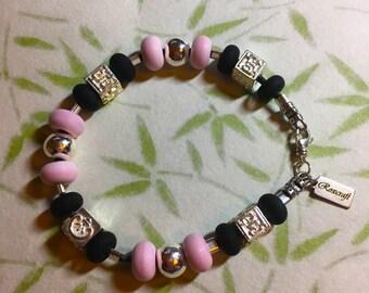 Modern Boho Black Leather Sterling Silver, Artisan Pink and Black Lampwork and Greek Ceramic Charm Bracelet