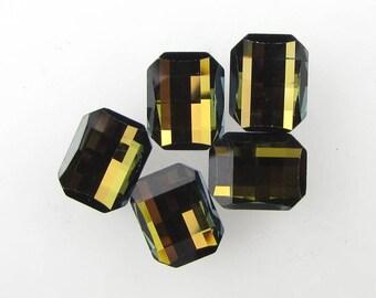 Vintage Swarovski Crystal Rhinestone Tabac Octagon Topaz Green Glass Jewel 9.5x7.5mm uvf0098 (5)