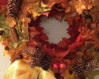 FABULOUS~AUTUMNAL~WREATH~sPRINKLED~wITH~cOPPER~gLITTER~gORGEOUS~
