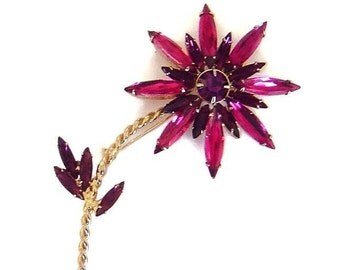 Vintage Purple navette Flower brooch pin Fabulous!
