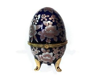 """Vintage Footed Egg, Cobalt Blue, Porcelain Egg, Egg Shaped Hinged Trinket Box, Easter Egg Box, Gold Gilded Egg, Easter Gift Decor, 4"""" Egg"""