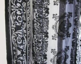 Black Ralph Lauren ornate velvet burnout scarf