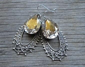 Clear Silver Shade Swarovski Crystal Boho Filigree Tear Drop Oxidized Silver Hoop Dangle Earrings