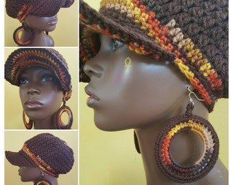 Lotus Sol Divine Being Crochet Cotton Cap and Earrings