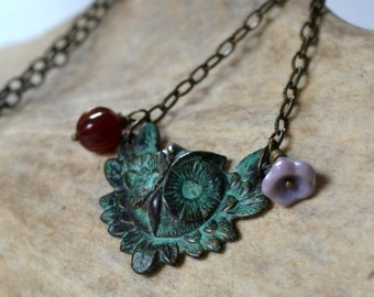 ON SALE 20% OFF Verdigris owl charm necklace, brass owl necklace - Wings of Wisdom