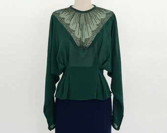Vintage 1980s Casadei Dark Green Long Sleeve Sheer Beaded Peplum Blouse - S