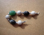 Desktop Worry Beads, Snow Quartz, Gray Marble and Green Aventurine Gemstones, Stress Relief Beads, Worry Beads, Meditation Beads