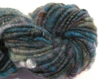 Handspun yarn Rattlesnake Hill 47 yards sparkly art yarn teal brown aqua corespun yarn knitting supplies crochet supplies Waldorf doll hair