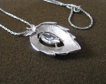 Crystal Navette silver tone vintage pendant necklace by Sarah Coventry