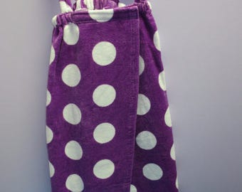 Spa Wrap Children's Size Medium Purple Polka Dot Towel Wrap