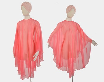 60s chiffon caftan cape / sheer pink goddess cape / 1960s long dramatic cape
