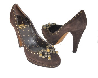 Moschino studded Bow pumps / brown suede designer platform heels / high heel shoes .. US 7 / EU 37.5