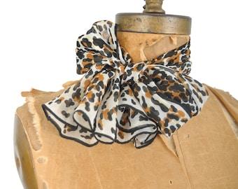 vintage 60s leopard print scarf / 1960s rectangular cat animal print scarf