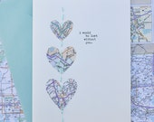 Map Hearts Card - Handmade Card by Megan Jewel, Embroidered Card, Map Card, Valentine's Day, Anniversary, I Would Be Lost Without You
