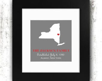 Printable Wedding Gift - Family Established - Custom State Print - Anniversary Gift - Gray - Housewarming Gift - Printable Art