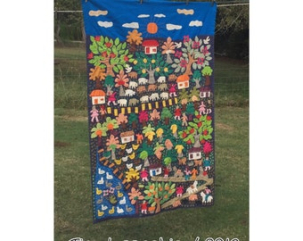 Cross Stitch - Vintage Embroidery - Primitive - Folk Art - Tapestry - Stitchery - Kitsch - Wall Hanging - Textile - Nursery Decor - CHIC