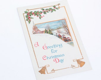 Antique Christmas Postcard Embossed Church Holly Bells