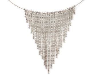 Memory Wire Bib Necklace Fringe Beaded Dangle Necklace