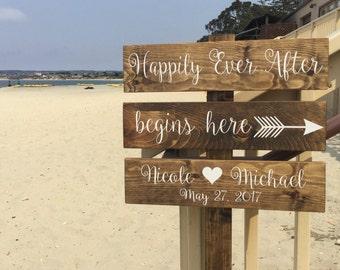 HaPPily Ever AFter BeGins HeRe Sign - DiReCTioNaL WeDDiNg SiGnS - Barefoot Wedding Sign - Destination Wedding Custom Wedding SIGN -4ft Stake
