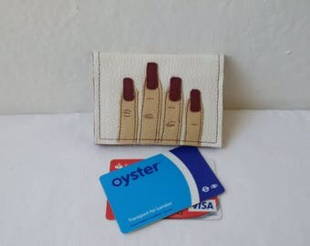 leather card holder, white leather, leather wallet, oystercard holder, credit cards, ID, upcycled, leather purse, recycled leather