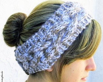 HOLIDAY SALE - Hand Knit Headband, Braided Cable, Vegan Washable Yarn, Beige Tan Fuzzy White, Coconut Buttons