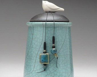 Ceramic Bird jar, turquoise green,handmade pottery jar ,home decor,Little Clay Bird on Jar, raku fired art pottery, handmade jar with lid