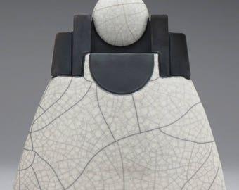 Black and White Ceramic sculptural vessel, Raku Lunar Vessel art pottery,handmade,home decor