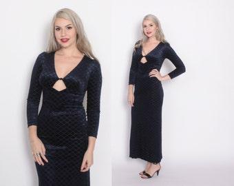 Vintage 70s Velvet DRESS / 1970s Textured navy Blue Velvet Cut-Out Glam maxi Dress XS