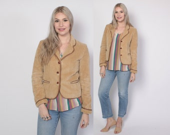 Vintage 80s Corduroy Blazer / 1980s 2-Tone Tan Fitted & Tailored Jacket XS