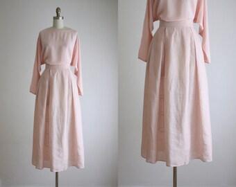 ballet pink linen midi skirt