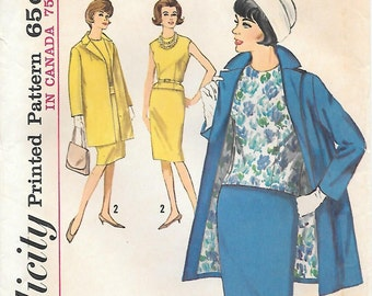 Simplicity 5279 1960s Walking Suit and Blouse Vintage Sewing Pattern Bust 34 Wiggle Skirt Long Lined Jacket