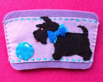 Scottie dog with ball coffee cup cozy