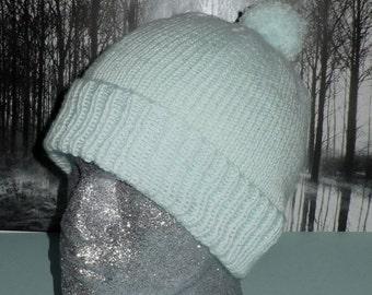 HALF PRICE SALE Instant Digital File Pdf Download Knitting Pattern -Simple Bobble Beanie pom pom hat knitting pattern pdf download