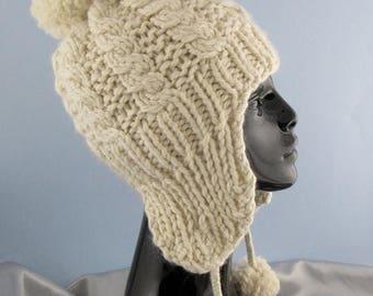 50% OFF SALE Instant Digital File PDF Download knitting pattern - Big Bobble Superfast Cable Trapper Hat pdf download knitting pattern