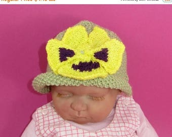 50% OFF SALE Instant Digital File pdf download knitting pattern-not the hat- Baby Pansy Flower Summer Hat Knitting Pattern