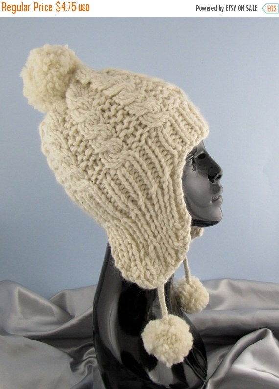 HALF PRICE SALE Instant Digital File Pdf Download knitting pattern - Big Bobble Superfast Cable Trapper Hat pdf download knitting pattern