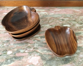 "Vintage WOODEN APPLE BOWL Set 4 Salad 6"" Wood 1970s"
