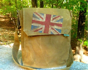 British Flag on Vintage Military Canvas Messenger Bag - Hand Painted