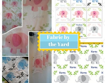 Elephant Fabric by the Yard - MEDIUM   Cute Baby, Kids Fabric, Upholstery, Quilting, Cotton, Minky, Fleece, Organic Cotton, Can PERSONALIZE