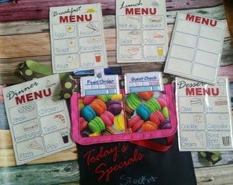 Restaurant play set - pretend restaurant - waiter - waitress - pretend menus - pocket apron  - pretend play - play kitchen  - learning toy