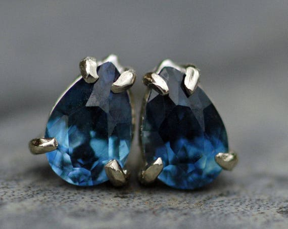 Blue Montana Sapphires in Textured 14k White Gold Earrings- Ready to Ship