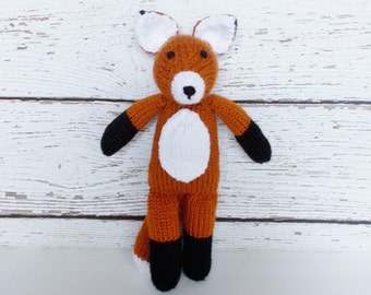 Hand Knit Fox, Woodland Stuffed Animal, Soft Toy, Plush Fox Doll, Toddler Gift, Baby Boy or Girl Gender Neutral Gift, Handmade Toy 13 1/2""