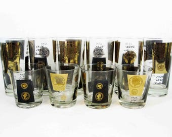Vintage set of 10 US Coin Cocktail Glasses by Cera. Circa 1960's.
