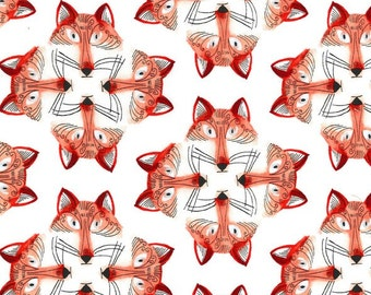 Michael Miller Fabric Foxy Fellas Out Foxed in color White, Choose your cut