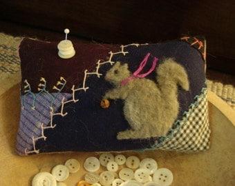 Primitive Squirrel on Antique crazy quilt pillow pinkeep -  Original Folk Art