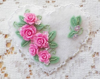 Handmade White Felt Heart / Heart Shaped Brooch / Pin / Broach with Pink Roses, Iridescent Pink Sequin Flowers, Glass Pearl / Pearls